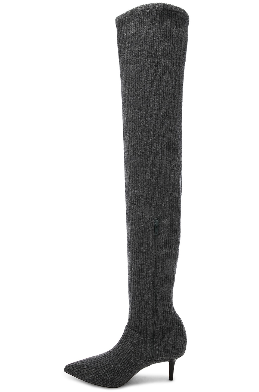 Grey High Sock Monse Fwrd Thigh Boots In wqv51C5