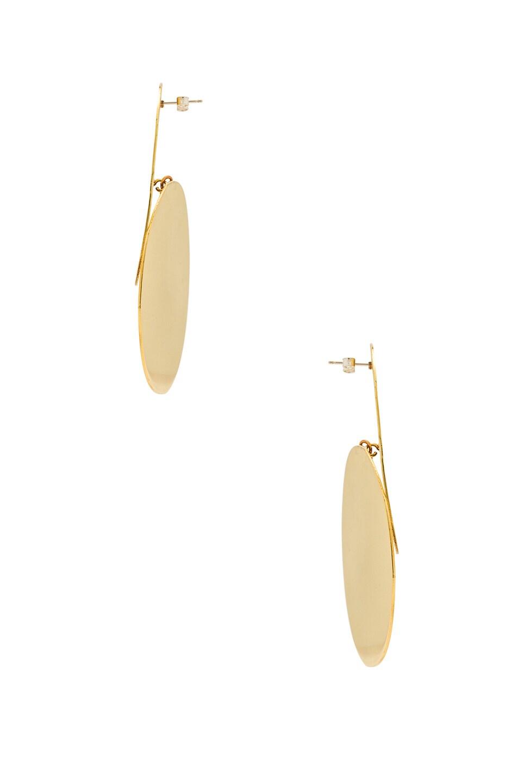 Image 2 of Modern Weaving Textured Ellipse Earrings in Brass