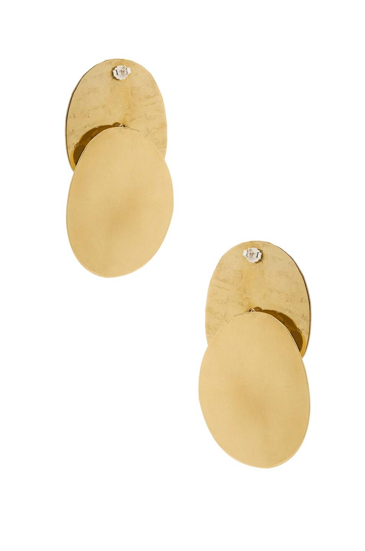 Image 3 of Modern Weaving Textured Ellipse Earrings in Brass