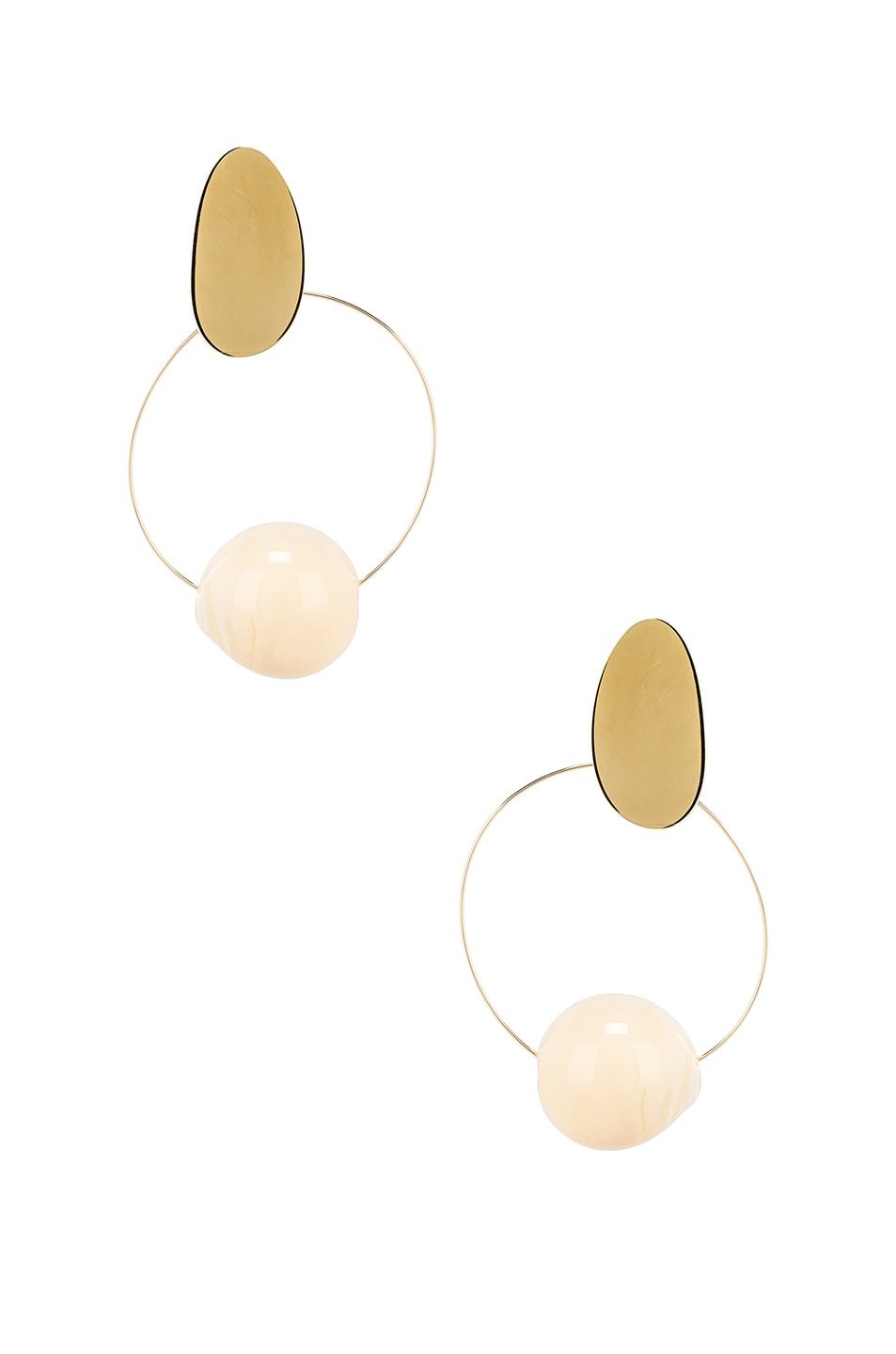 Image 1 of Modern Weaving Orb Hoops in Creme