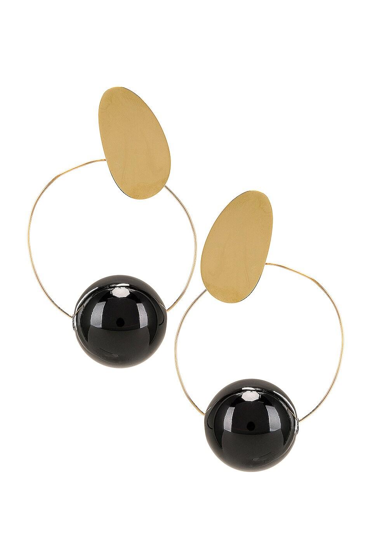 Image 1 of Modern Weaving Orb Hoops in Brass & Black