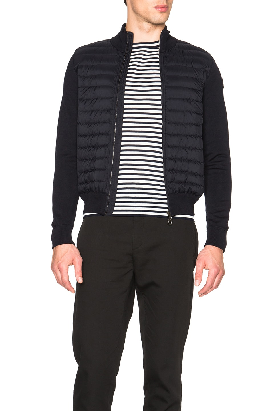 9ad9872bead5 Image 1 of Moncler Maglia Tricot Cardigan Jacket in Navy