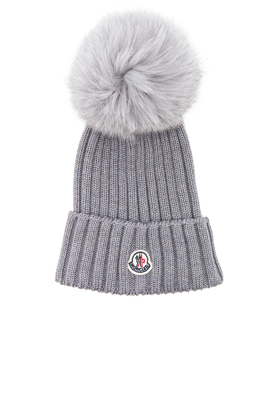 dffa1764ab9 Image 1 of Moncler Berretto Beanie With Fox Fur Pom in Charcoal