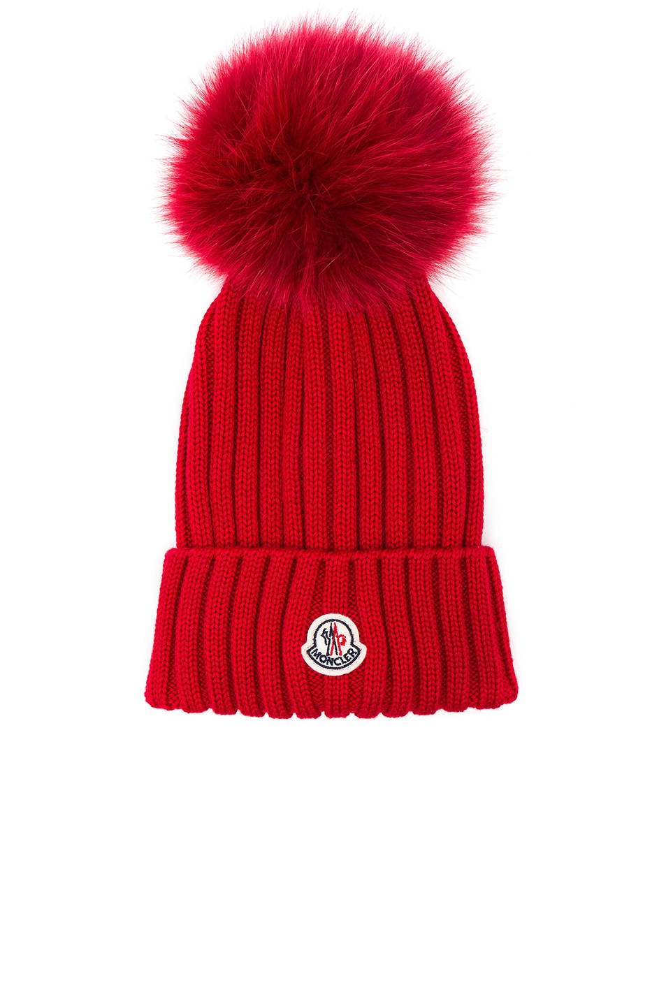 Image 1 of Moncler Berretto Beanie With Fox Fur Pom in Red