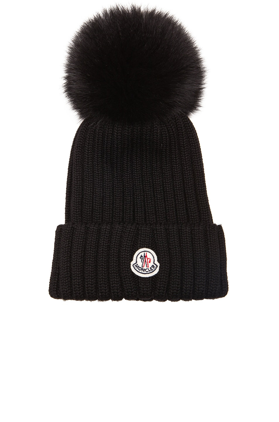 Image 1 of Moncler Fur Pom Ribbed Beanie in Black