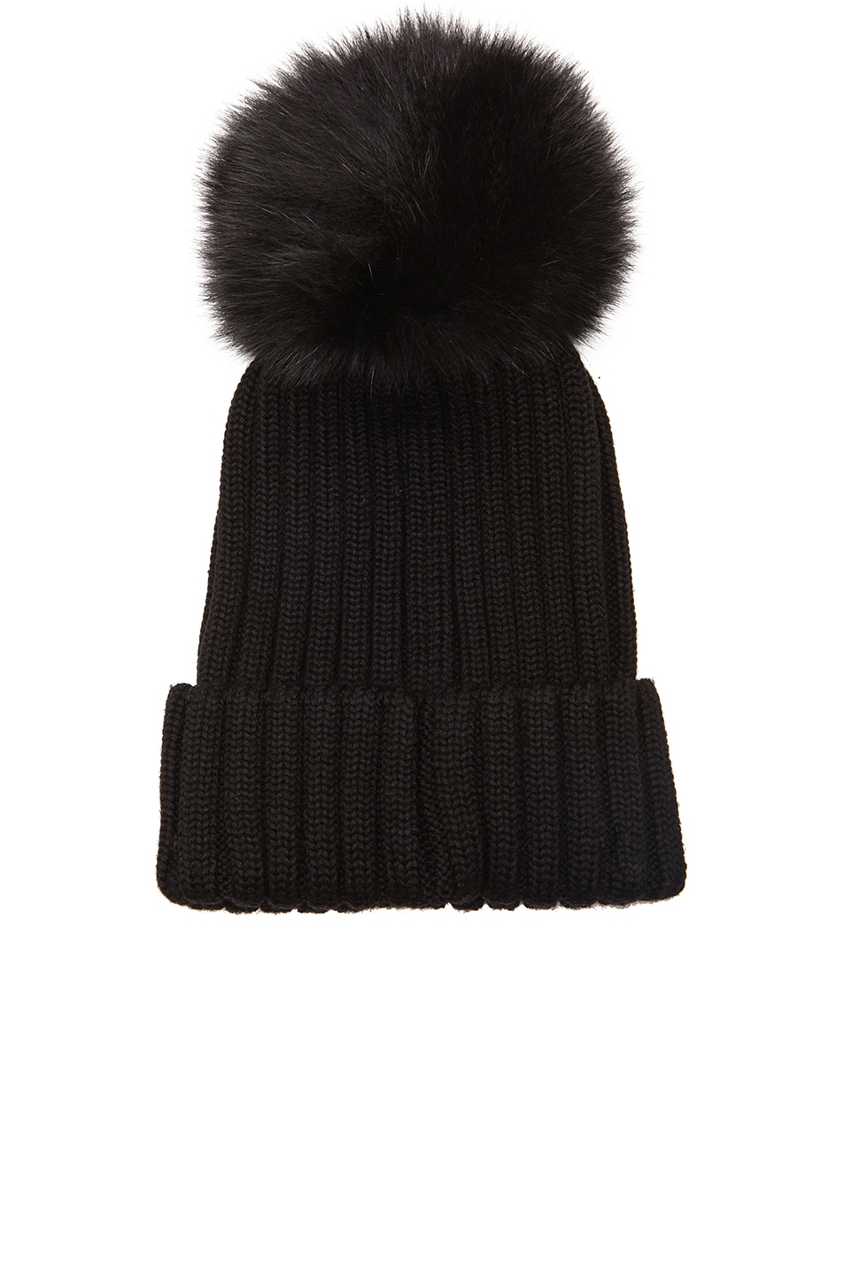 Image 2 of MONCLER Fur Pom Ribbed Beanie in Black