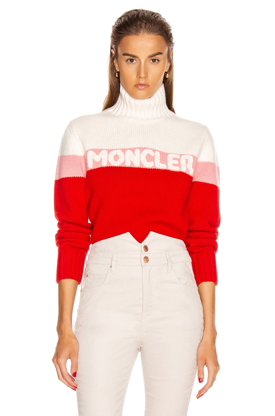 Image 1 of Moncler Tricot Cyclist Sweater in Crimson, Pink & White
