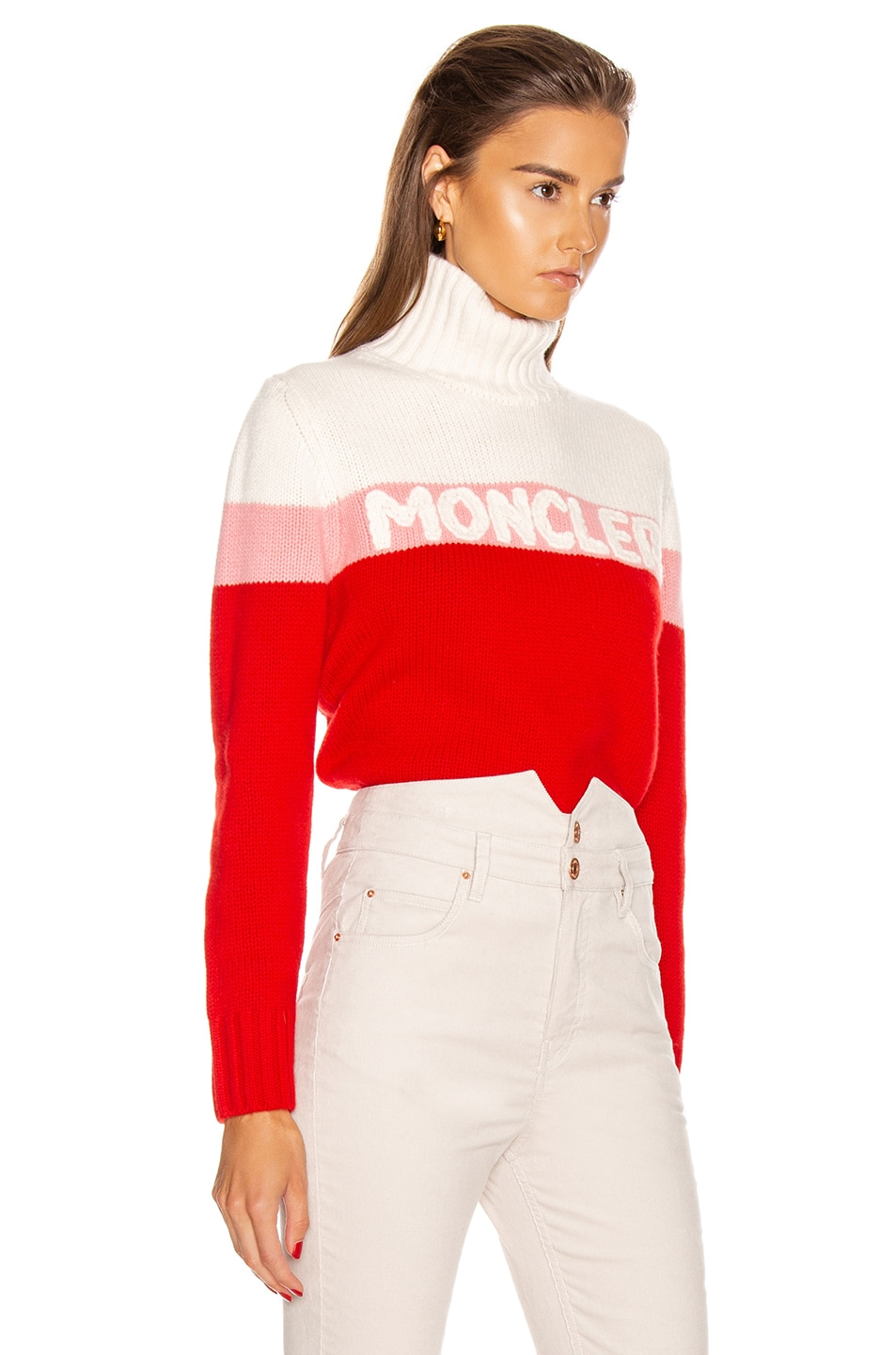Image 2 of Moncler Tricot Cyclist Sweater in Crimson, Pink & White