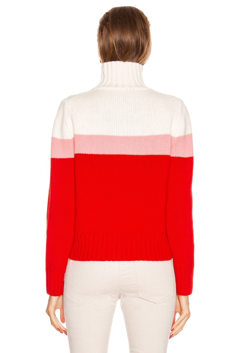 Image 3 of Moncler Tricot Cyclist Sweater in Crimson, Pink & White