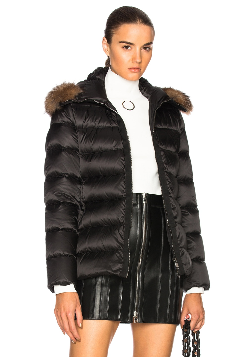 Image 1 of Moncler Tatie Jacket With Fox Fur in Black