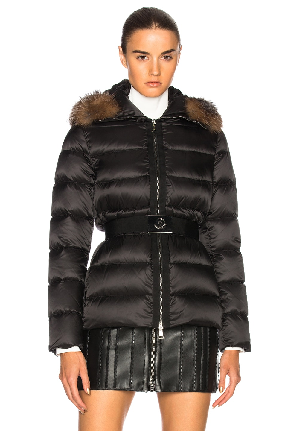 Image 2 of Moncler Tatie Jacket With Fox Fur in Black