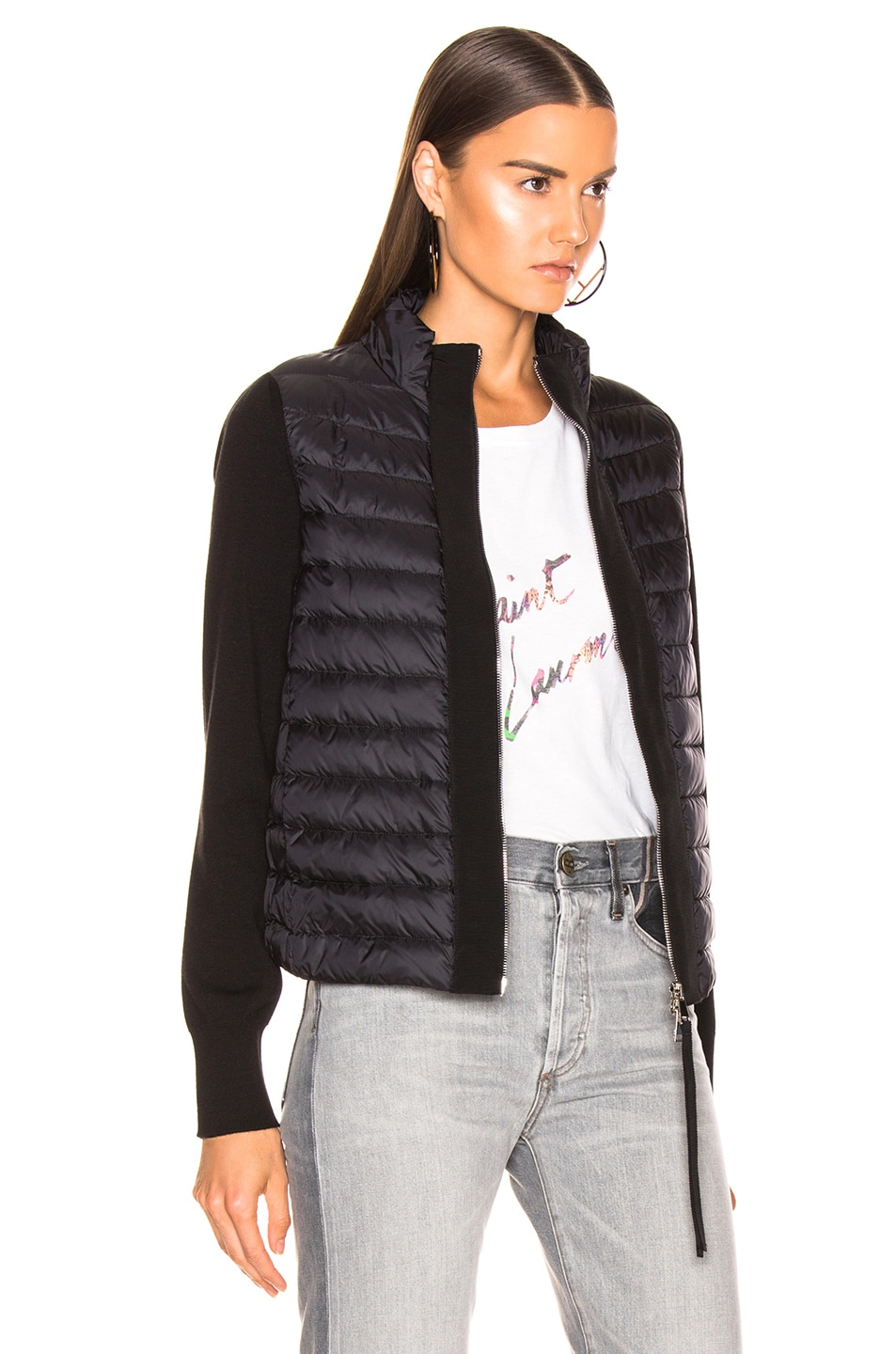 Image 3 of Moncler Zip Cardigan in Black