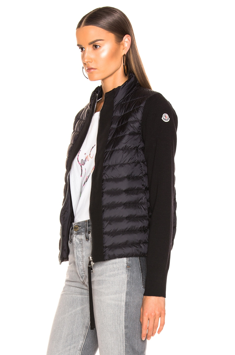 Image 4 of Moncler Zip Cardigan in Black