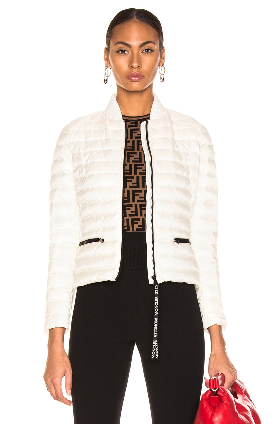 Image 1 of Moncler Blenca Biker Jacket in White