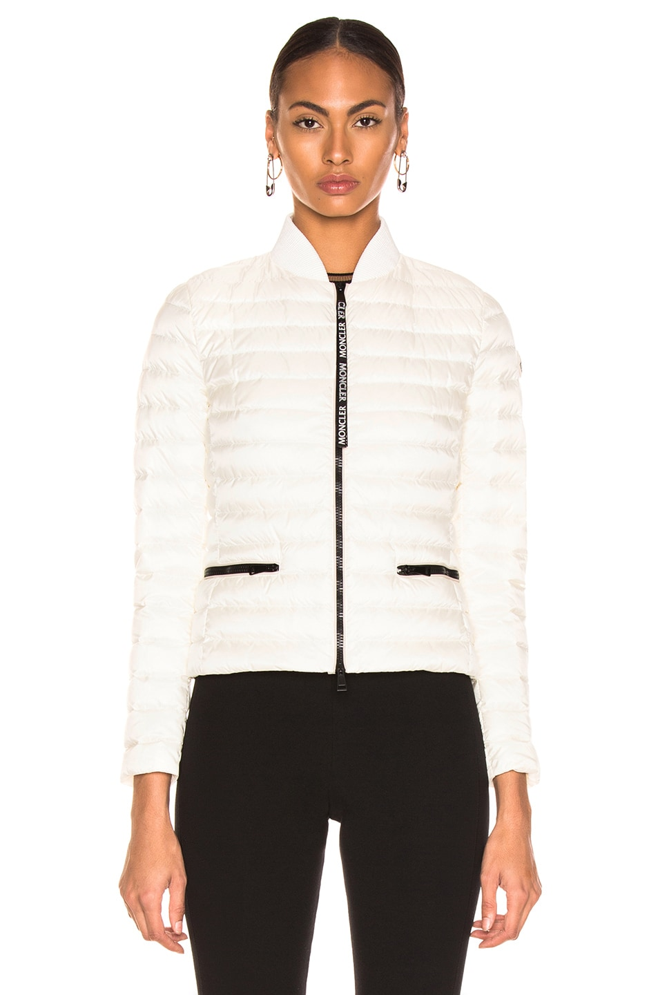Image 2 of Moncler Blenca Biker Jacket in White