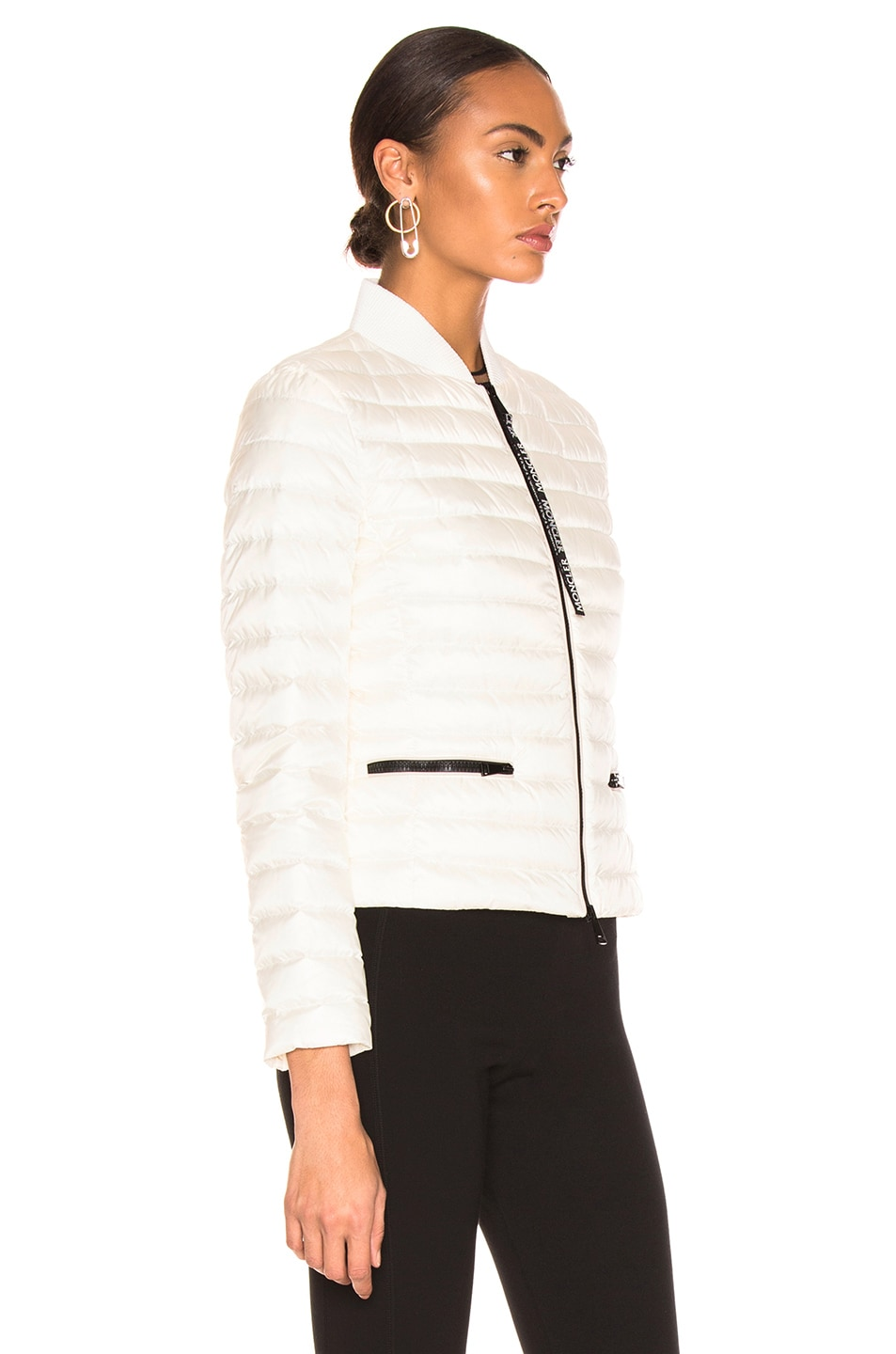 Image 3 of Moncler Blenca Biker Jacket in White