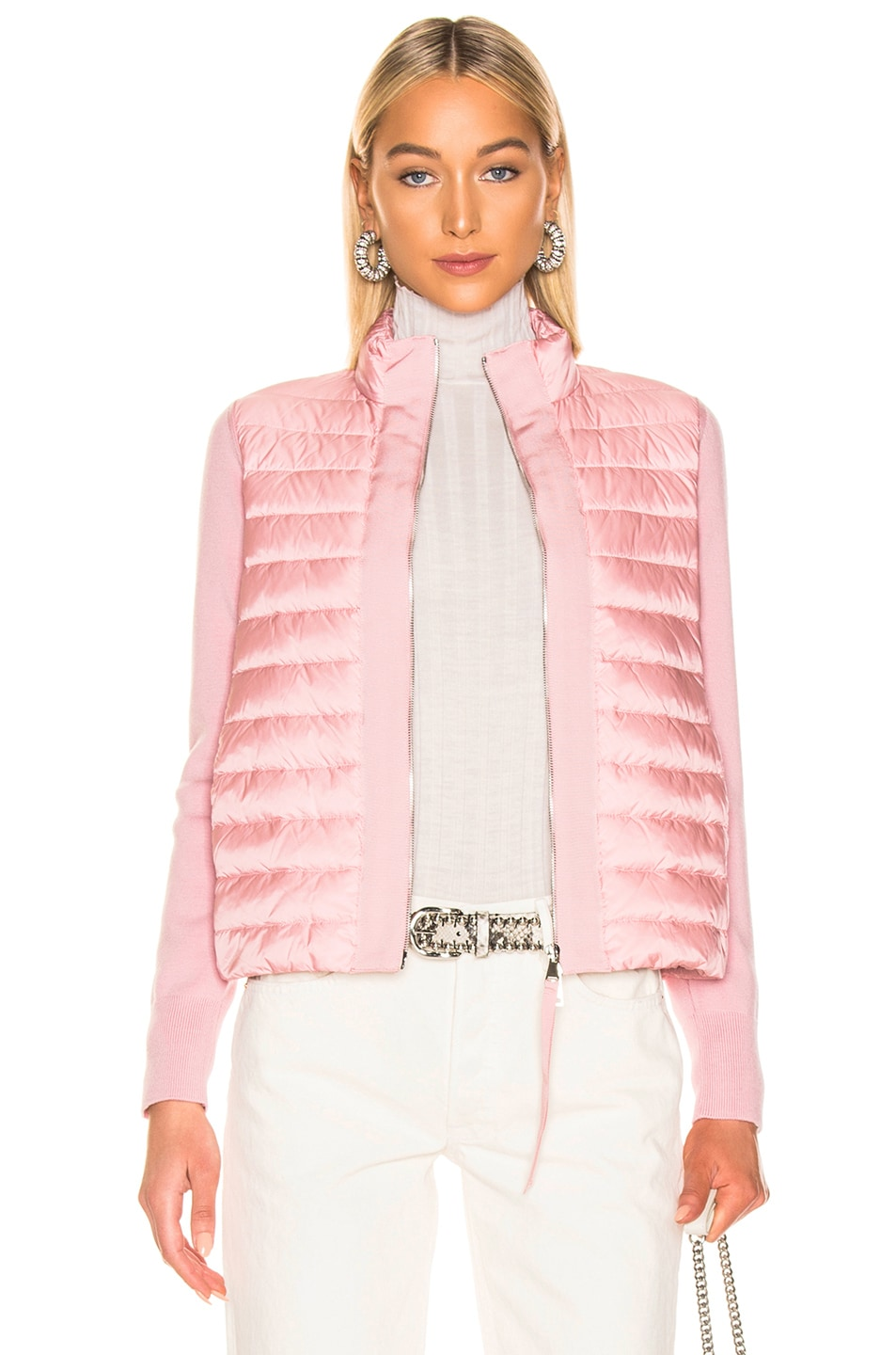 Image 1 of Moncler Maglia Tricot Cardigan Jacket in Pink
