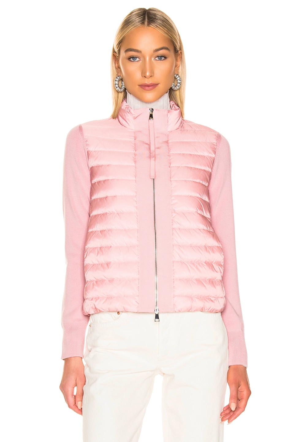 Image 2 of Moncler Maglia Tricot Cardigan Jacket in Pink