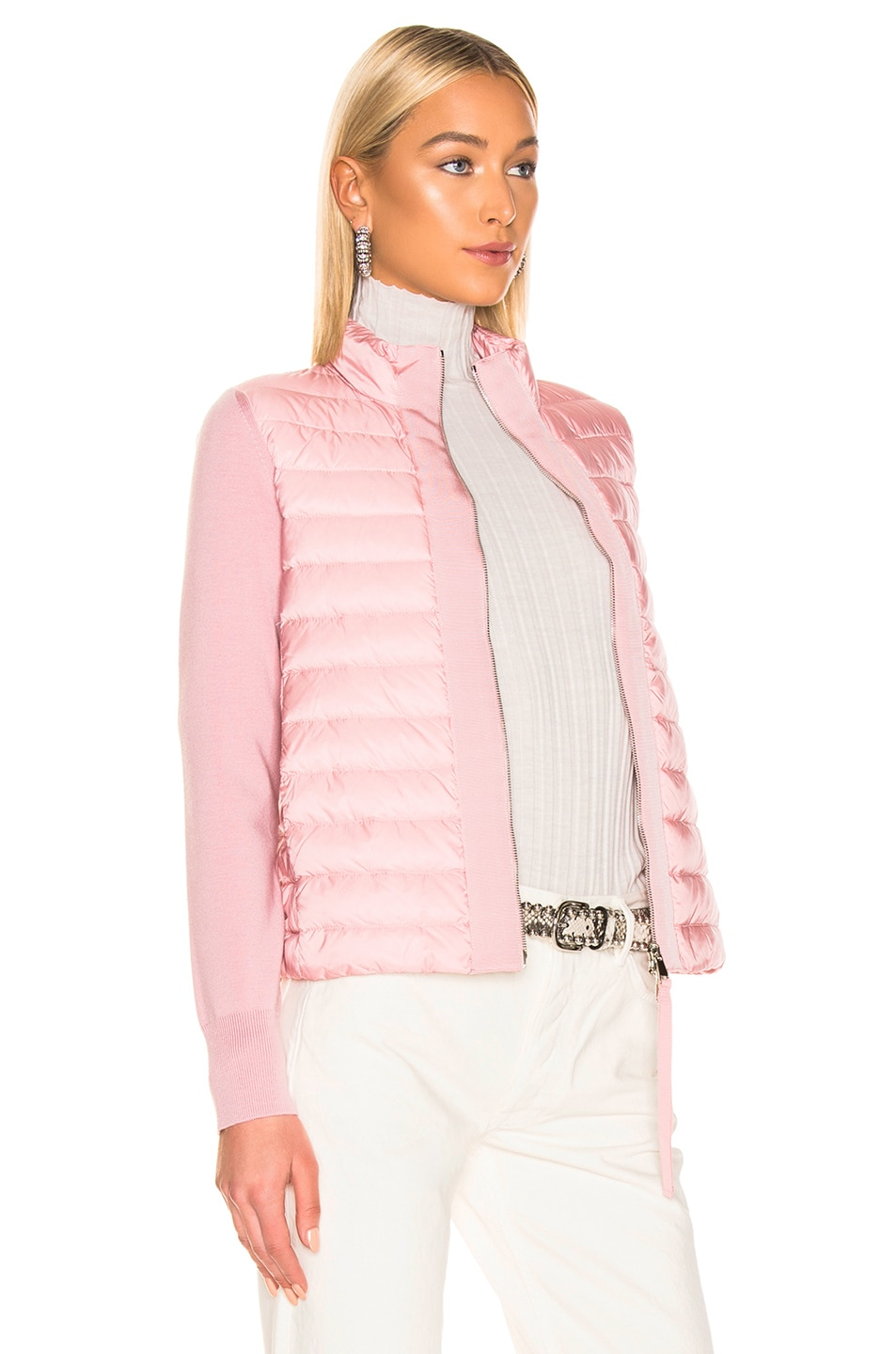 Image 3 of Moncler Maglia Tricot Cardigan Jacket in Pink