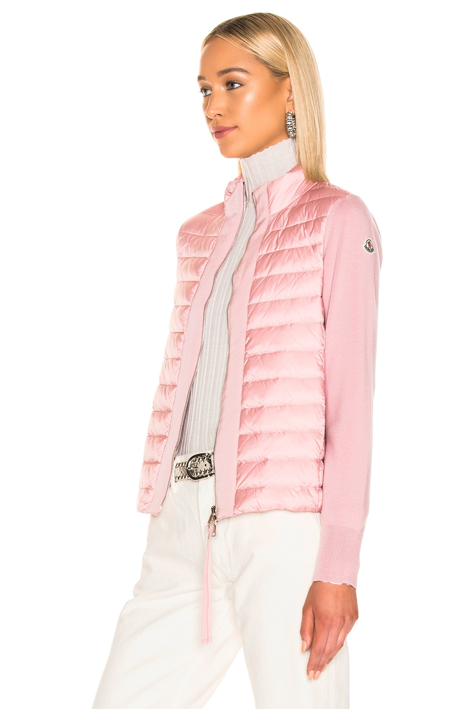 Image 4 of Moncler Maglia Tricot Cardigan Jacket in Pink