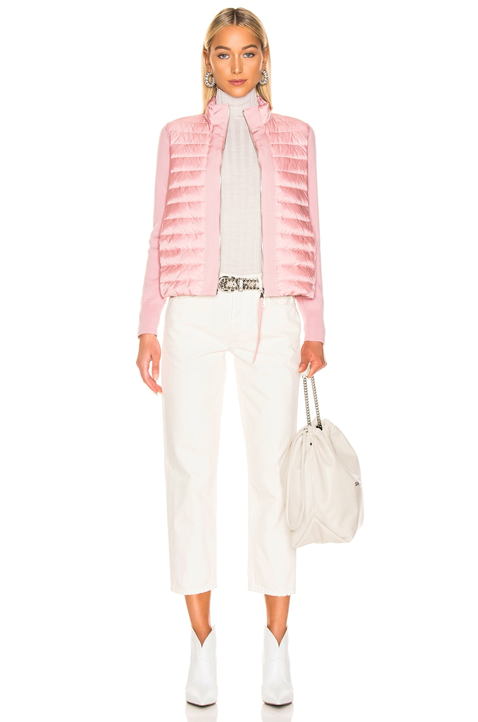 Image 6 of Moncler Maglia Tricot Cardigan Jacket in Pink
