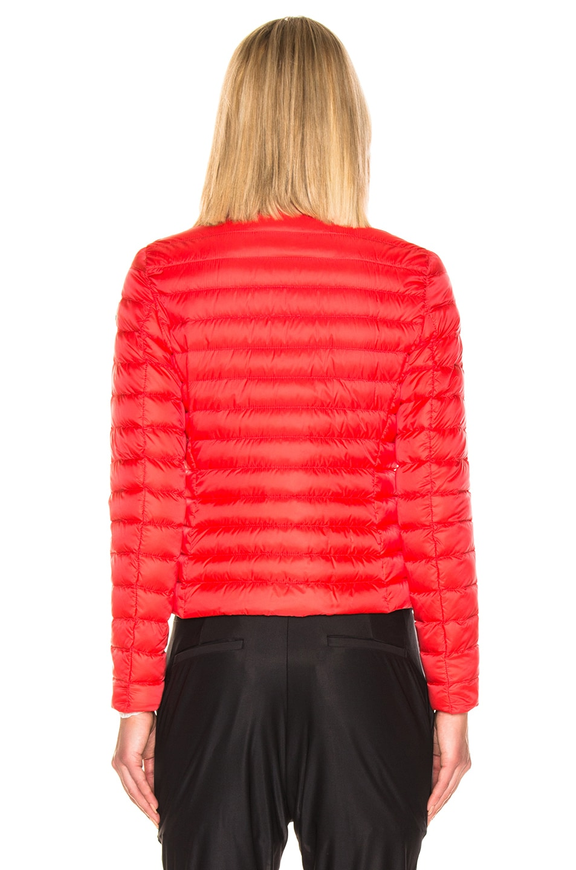 Image 5 of Moncler Blenca Biker Jacket in Coral Red