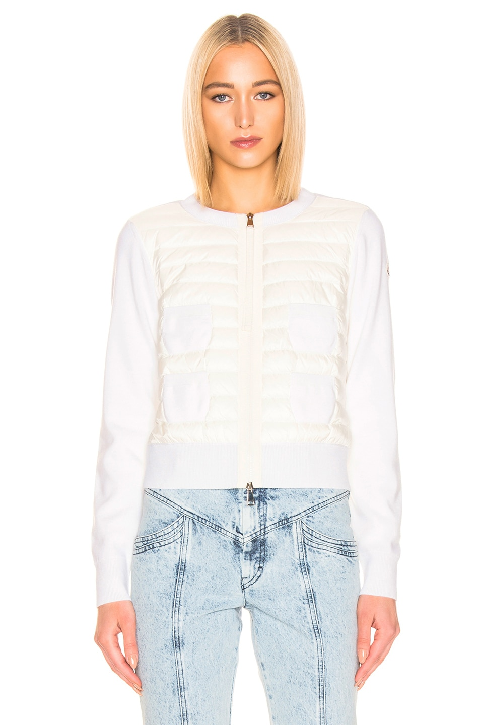 Image 2 of Moncler Maglione Tricot Jacket in White