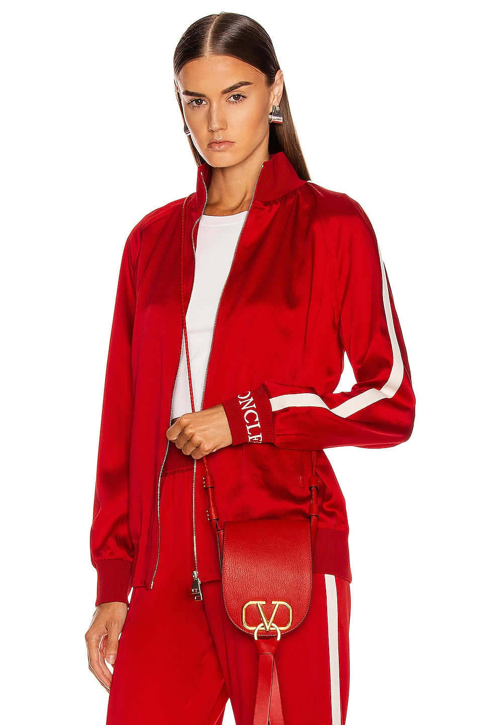 Image 1 of Moncler Logo Track Jacket in Red