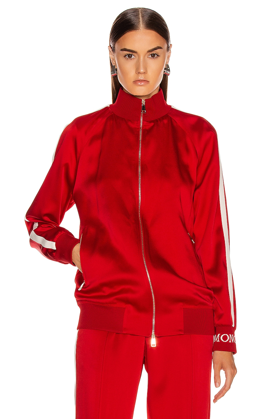 Image 2 of Moncler Logo Track Jacket in Red