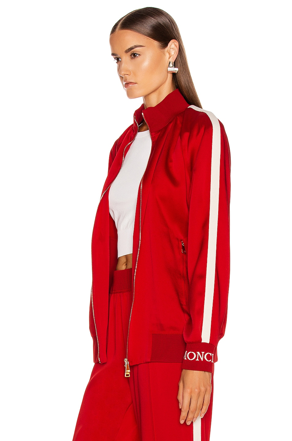 Image 4 of Moncler Logo Track Jacket in Red