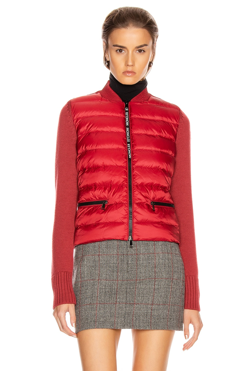 Image 2 of Moncler Tricot Cardigan in Crimson