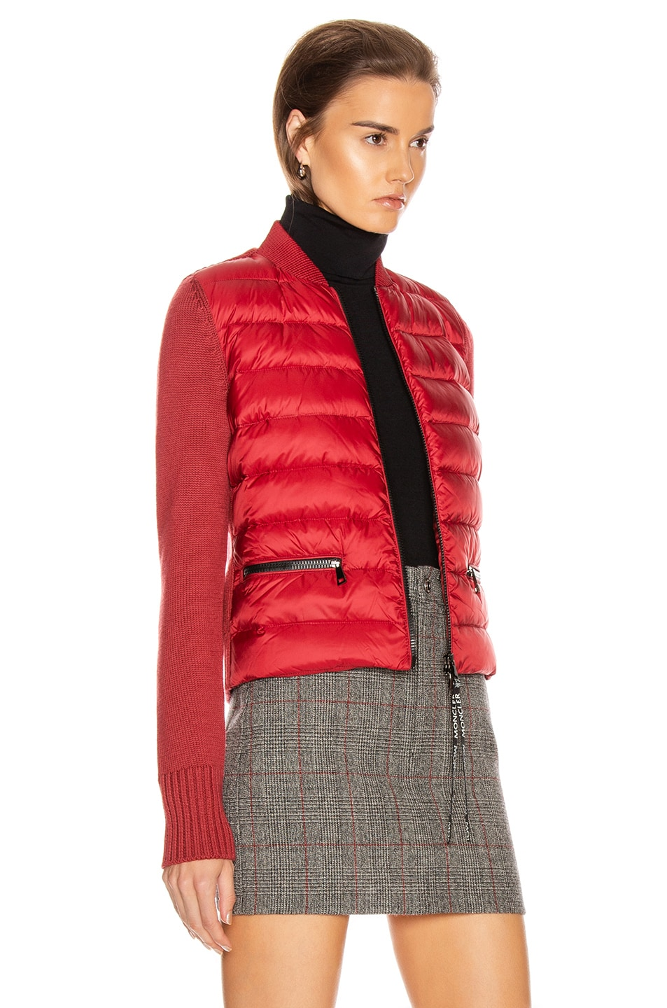 Image 3 of Moncler Tricot Cardigan in Crimson