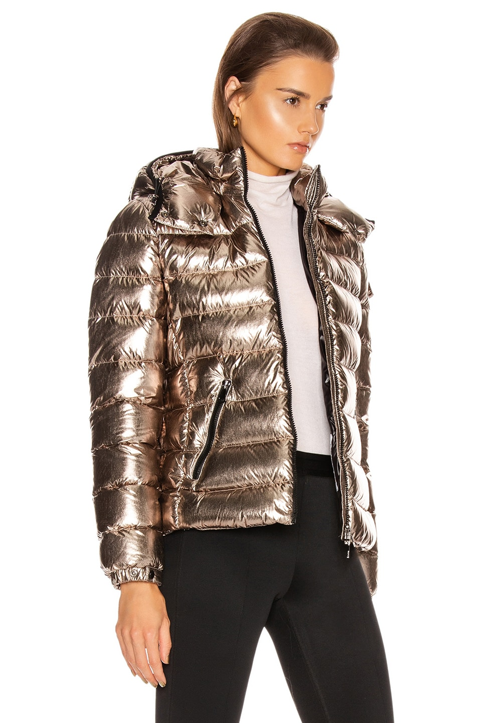 Image 3 of Moncler Bady Jacket in Gold Metallic
