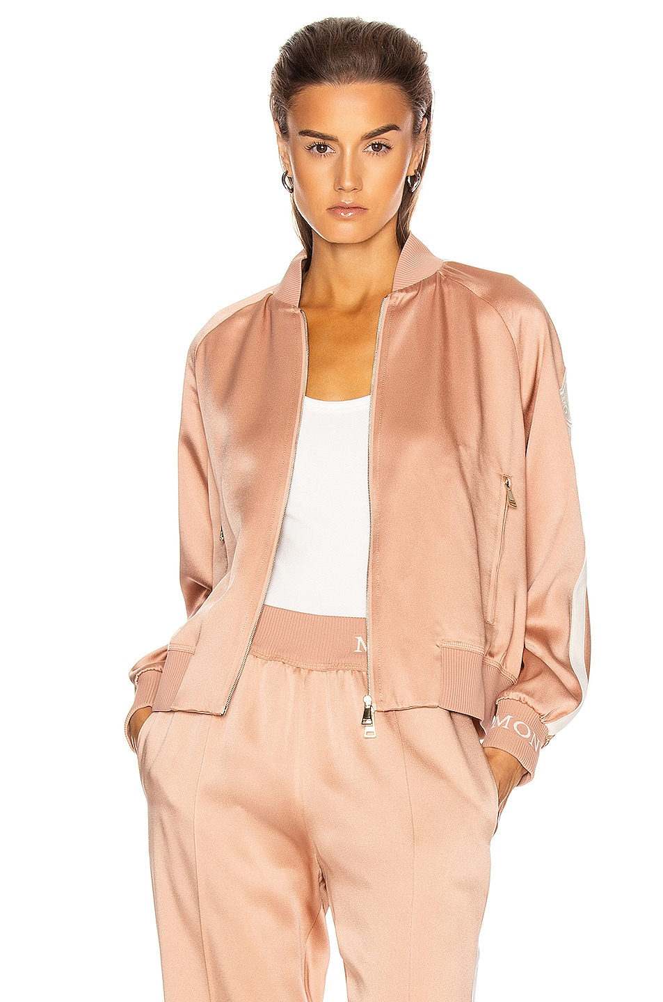 Image 1 of Moncler Camicia Bomber Jacket in Blush