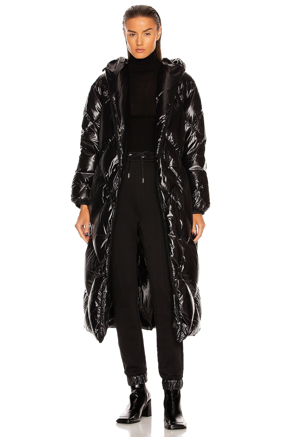 Image 1 of Moncler Cotonniere Long Coat in Black
