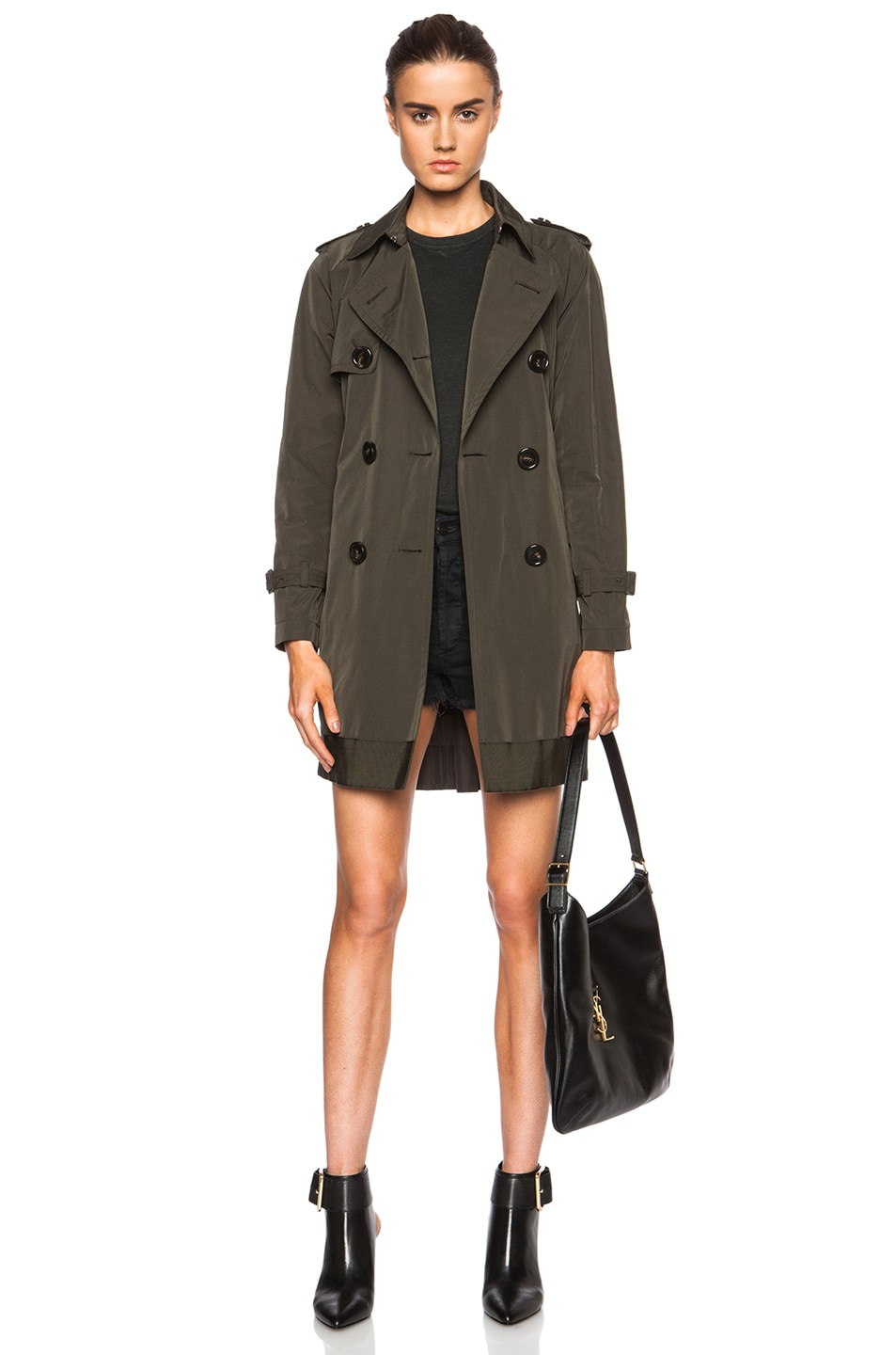 Image 1 of MONCLER Delmas Poly-Blend Trench in Army Green