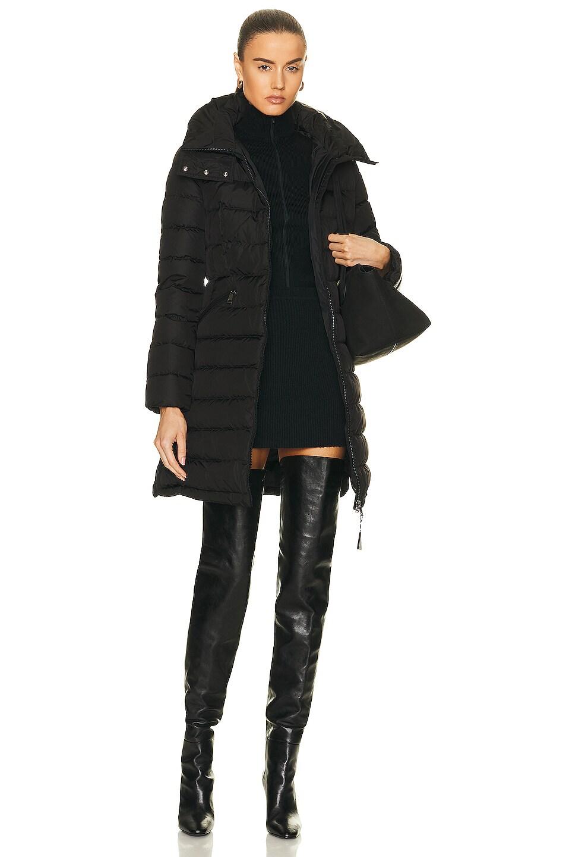 Image 6 of Moncler Flammette Long Coat in Black