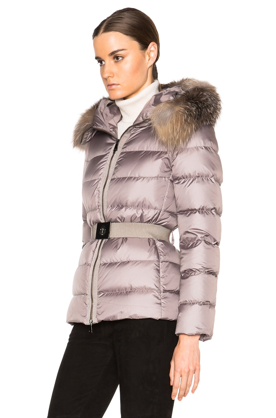 Image 3 of MONCLER Fabrette Short Jacket with Fox Fur Hood in Taupe