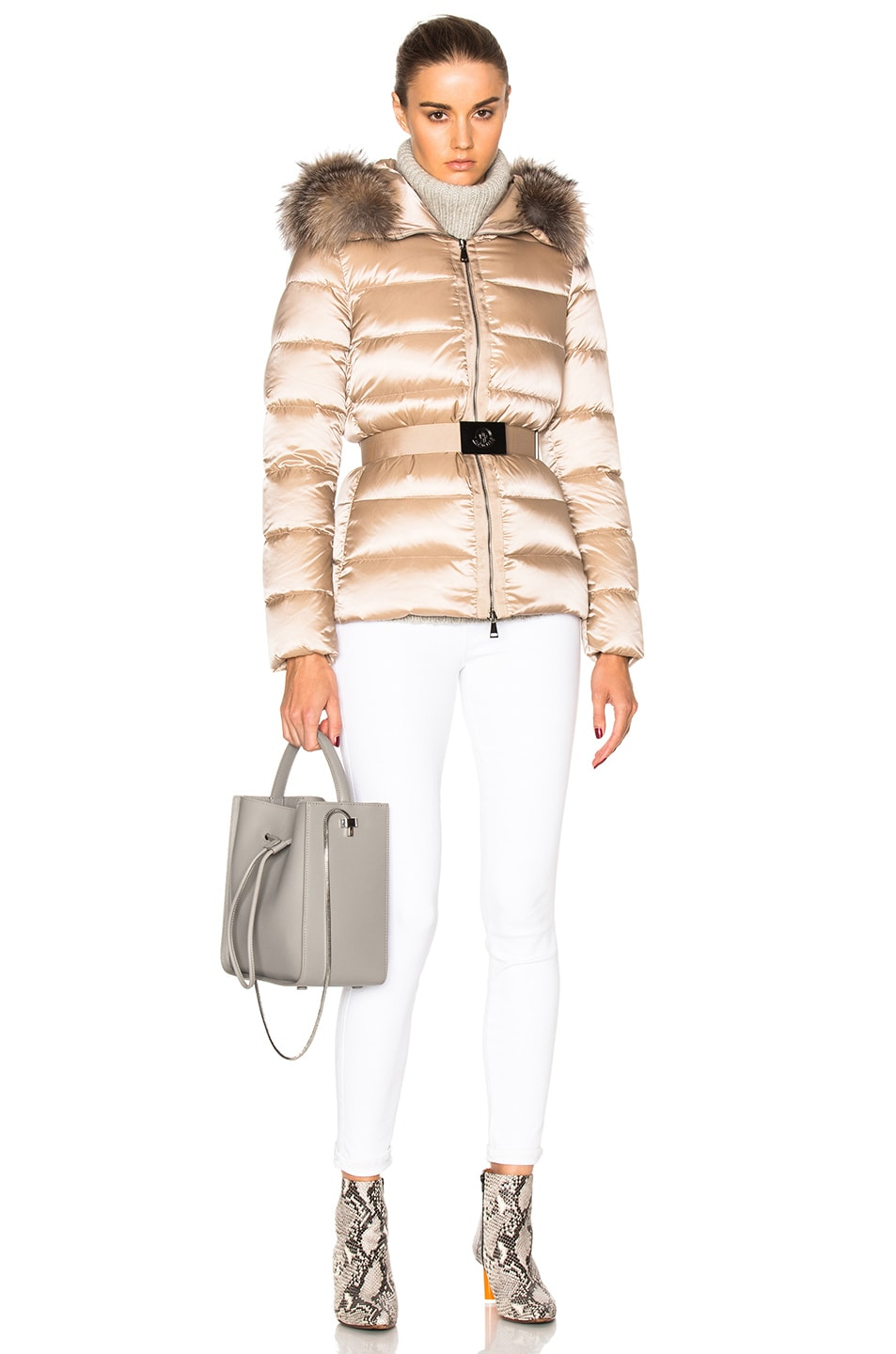 Image 6 of Moncler Tatie Giubbotto Jacket With Fox Fur in Taupe