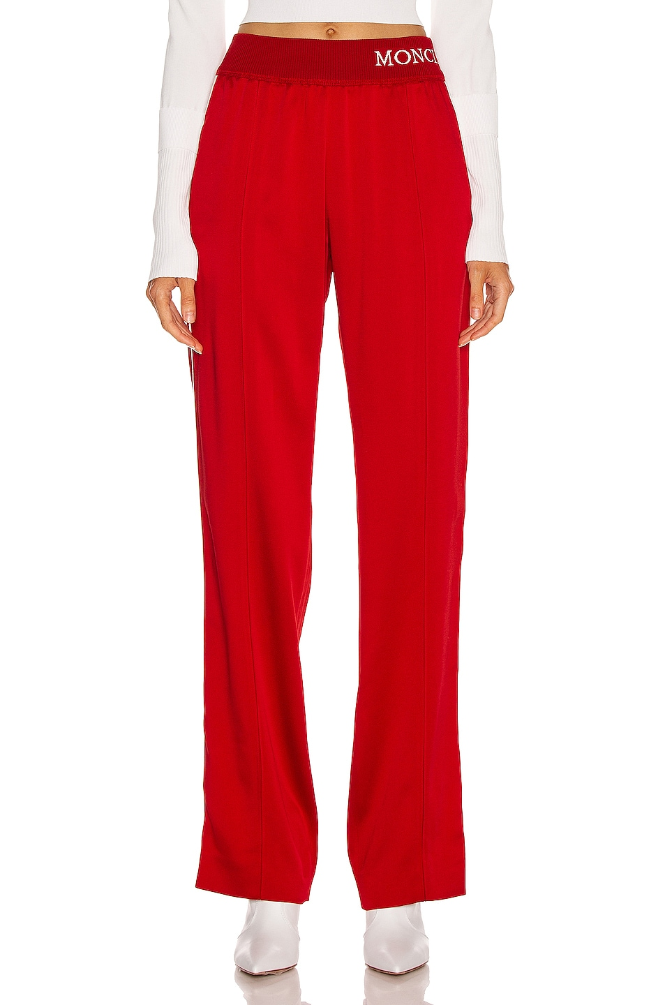 Image 2 of Moncler Logo Track Pant in Red