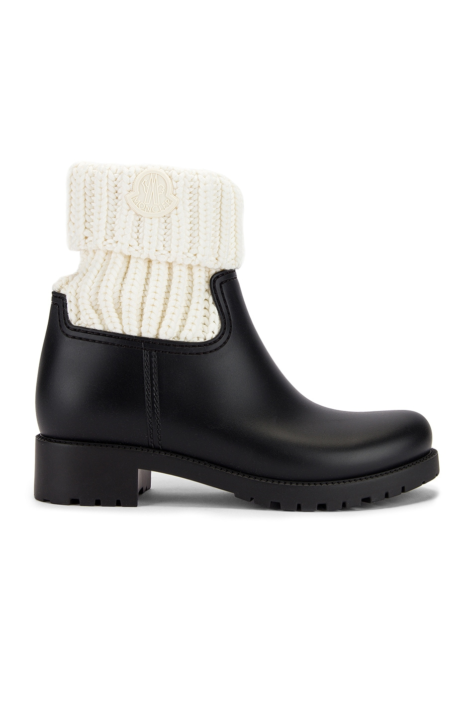 Image 1 of Moncler Ginette Knit Boot in Black & White