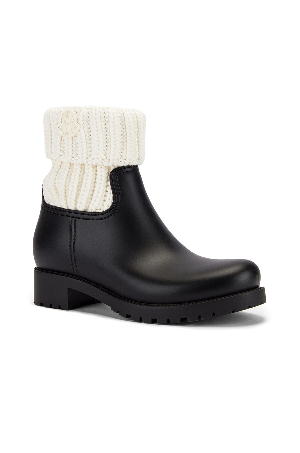 Image 2 of Moncler Ginette Knit Boot in Black & White