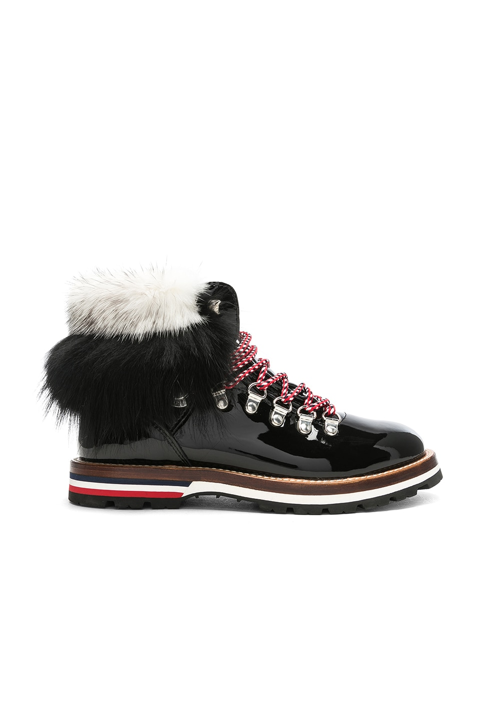 Image 1 of Moncler Patent Leather Solange Scarpa Boots With Mink Fur in Black
