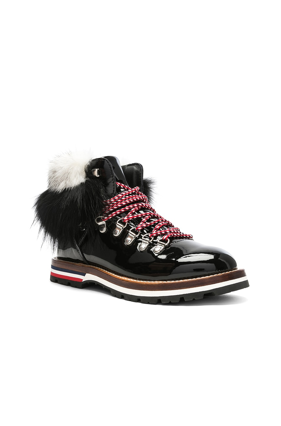 Image 2 of Moncler Patent Leather Solange Scarpa Boots With Mink Fur in Black