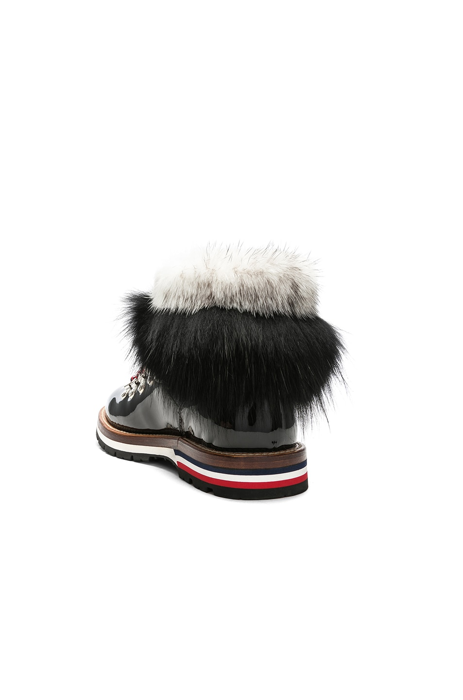 Image 3 of Moncler Patent Leather Solange Scarpa Boots With Mink Fur in Black