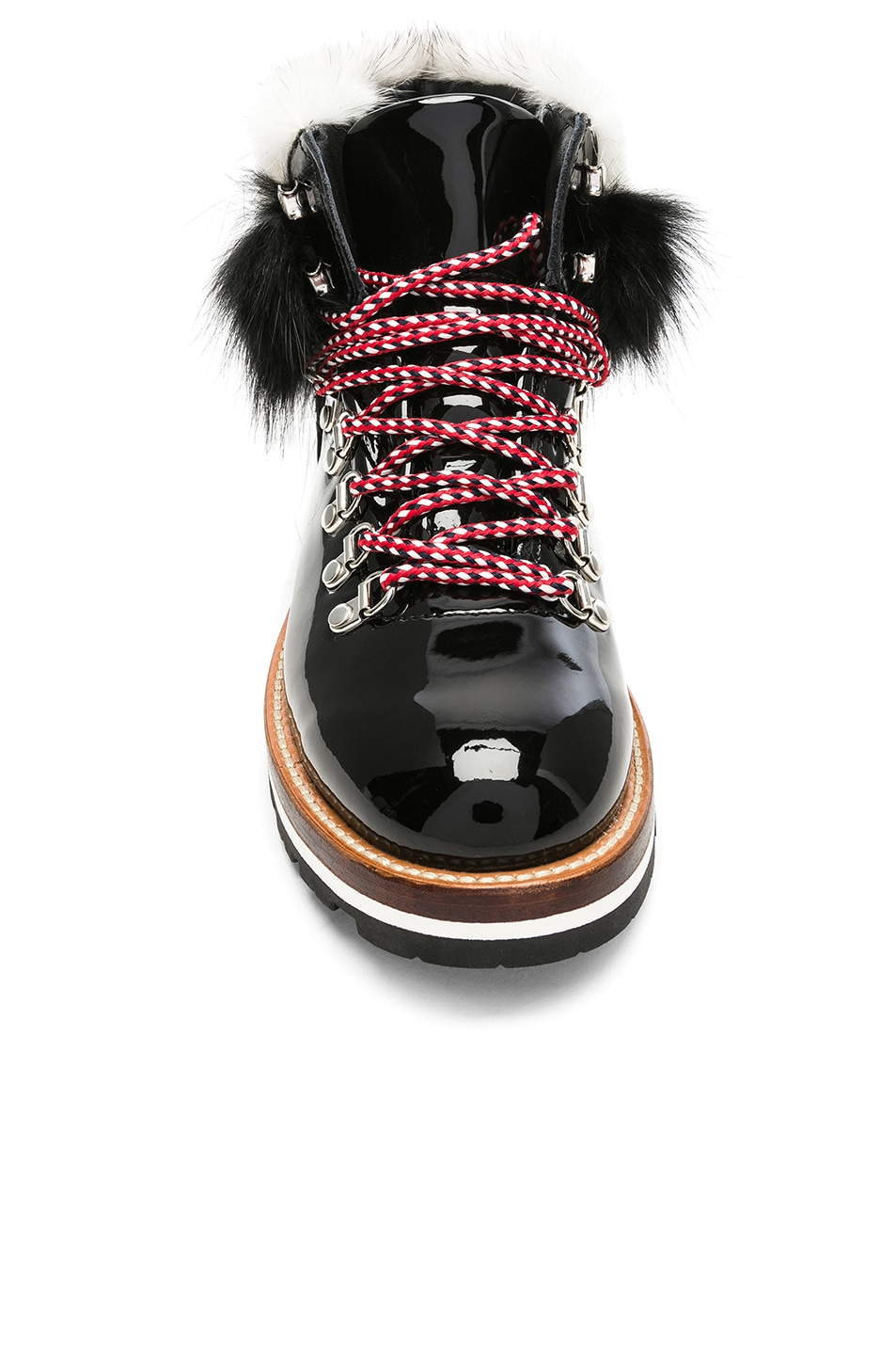 Image 4 of Moncler Patent Leather Solange Scarpa Boots With Mink Fur in Black