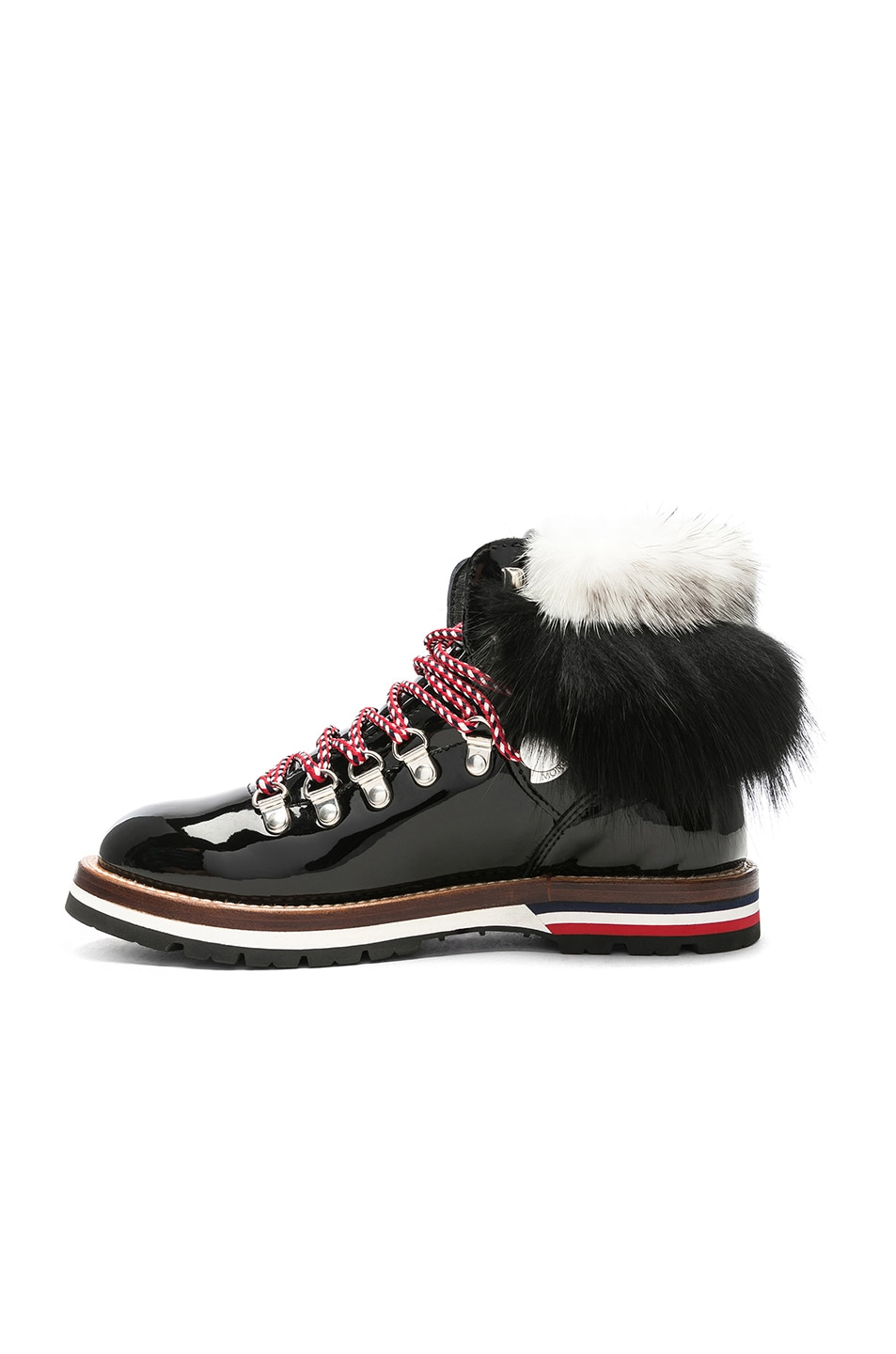 Image 5 of Moncler Patent Leather Solange Scarpa Boots With Mink Fur in Black