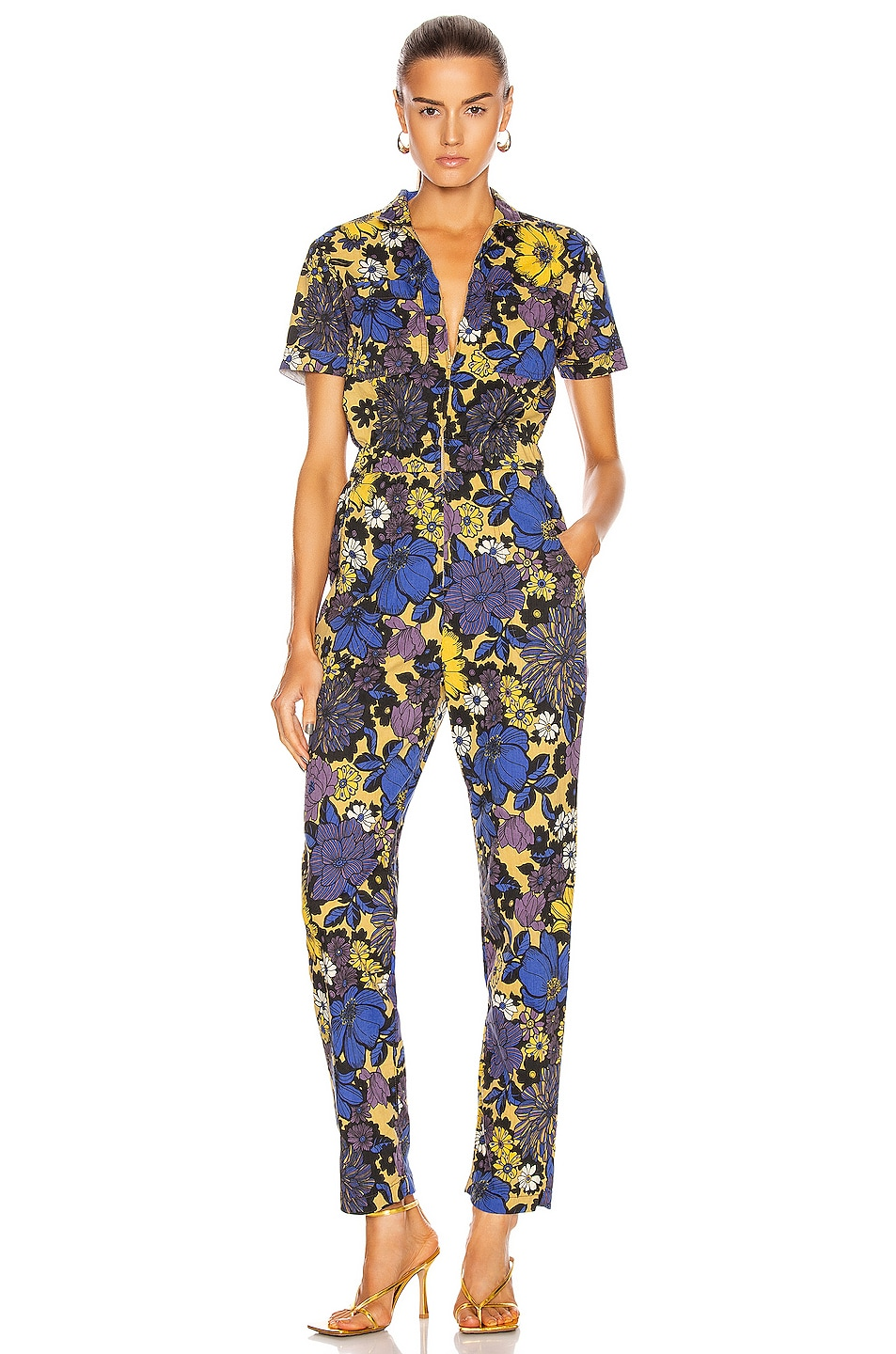 Image 1 of MOTHER Zippy Ankle Jumpsuit in Oopsie Daisy