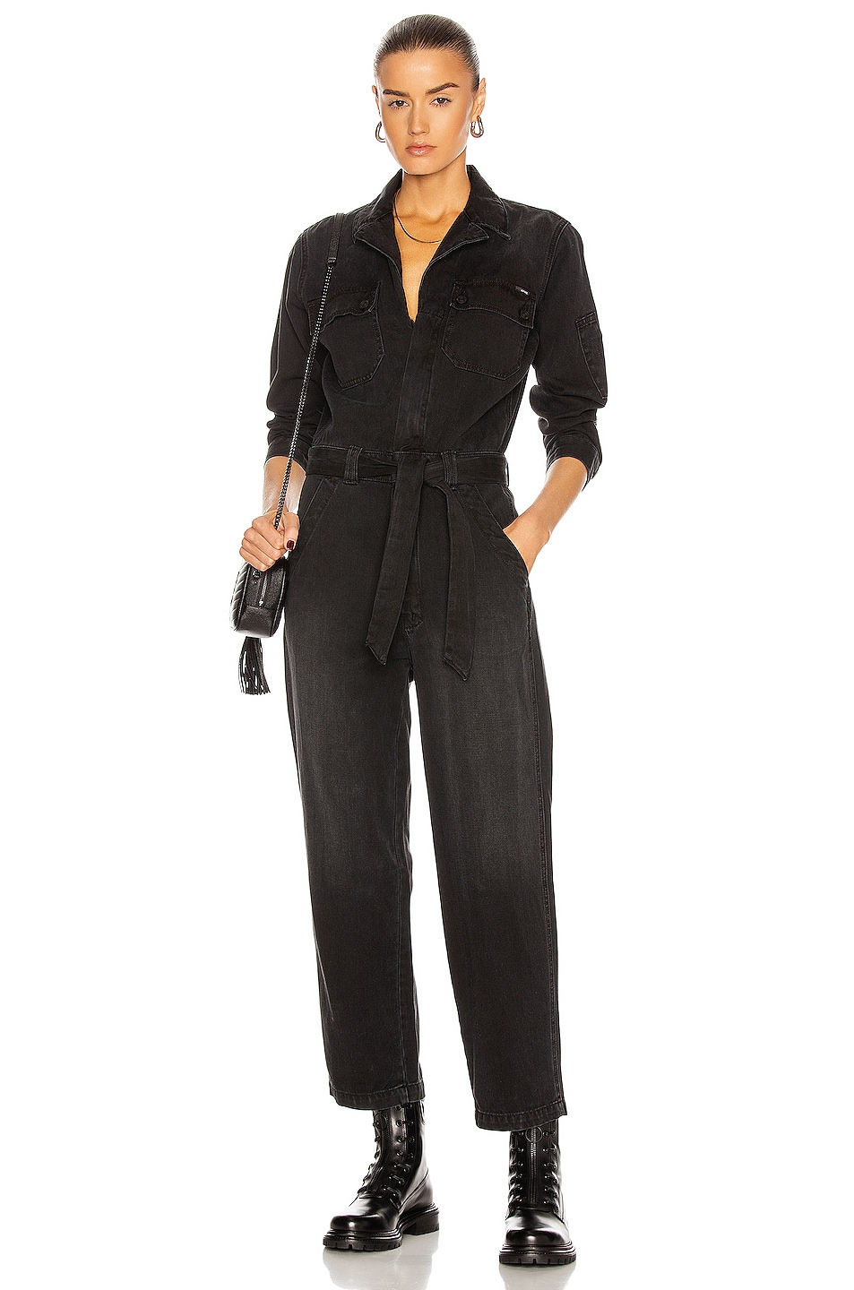 Image 1 of MOTHER The Belted Fixer Jumpsuit in Blackout