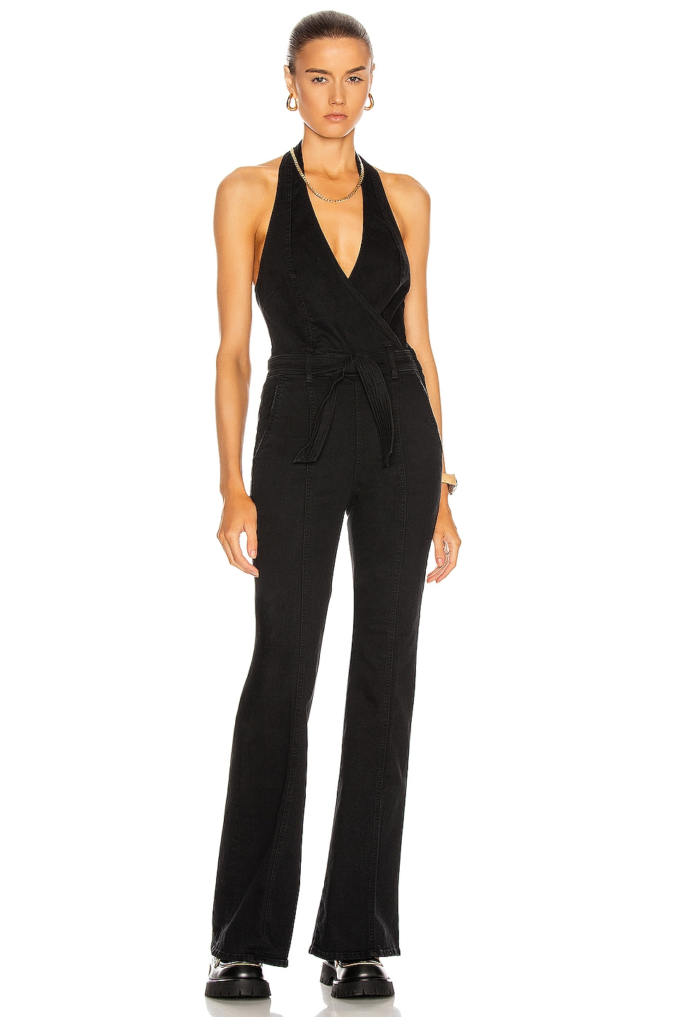 Image 1 of MOTHER The Halter Doozy Jumpsuit in Not Guilty